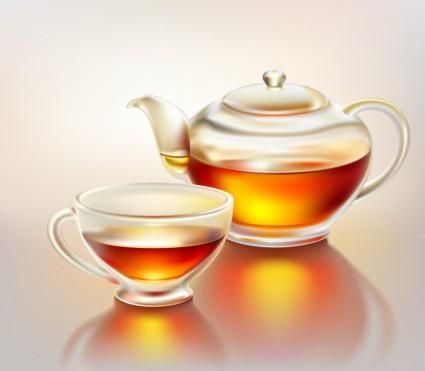 вектор реалистичные Кубок и чайник
