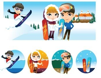 snow boarding vector