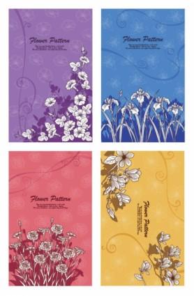 सुंदर फूल पौधों वेक्टर रेखा आरेखण