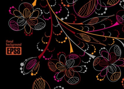 vetor de projecto de linha de flores coloridas