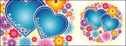 linda cor e as flores em forma de pequeno coração