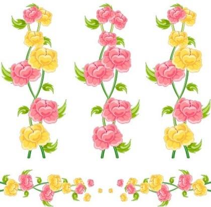 मल्टी शैली फीता फूल और तितली वेक्टर सामग्री