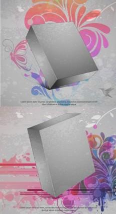 vector de fondo tridimensional caja flor
