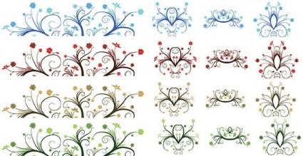 Vector ornamentos de hoja rizada