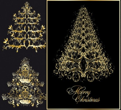 klasik europeanstyle pohon Natal pola vektor