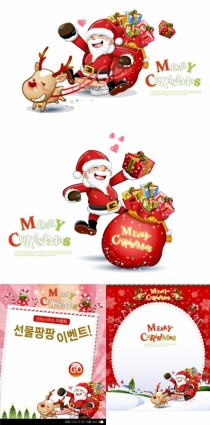 lindo muñeco de nieve y santa claus Navidad vector
