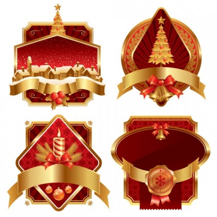 лейбл Рождество вектор золото