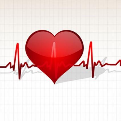 coeur avec vecteur ligne de vie