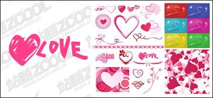 nombre de coeur de valentine s day en forme des éléments du matériel vecteur