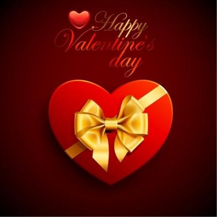 バレンタインの s 日のリボンと赤のハート ボックス