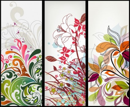 Vector banners florales verticales
