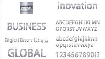 Textura de metal de las letras del material de vector de alfabeto