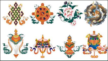 Благоприятный восемь Тибет - векторный материал