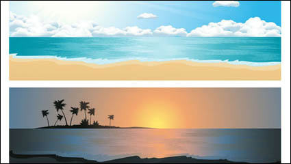 Красивые прибрежные пейзажи 02 - вектор