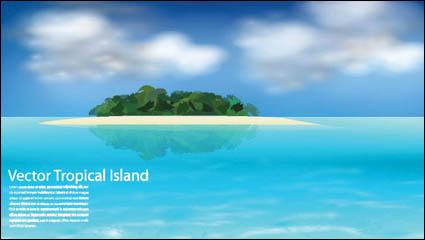 Морской остров векторный материал