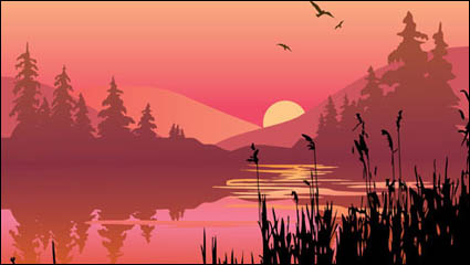 Material de vetor de lagos e montanhas ao entardecer