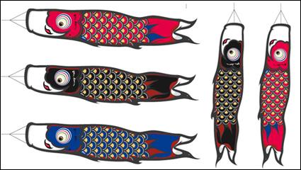 Banderas de carpa japonesa de vectores de material