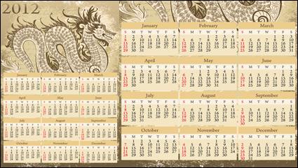 Año del Dragon 2012 calendario vector material