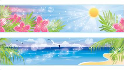 Красивые прибрежные пейзажи 03 - вектор