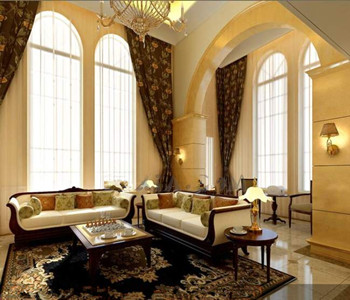Luxurious golden comfortable living room