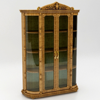 Continental transparent glass cabinet 3D model