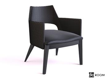 The ultra-modern black armchair 3D model