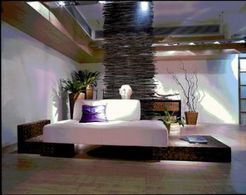 Wood bottom cushion sofa 3D model