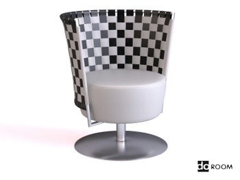 The checkerboard backrest modeling chair 3D model