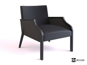 Modern black high-back armchairs