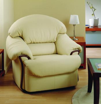 Modern light color single leather sofa