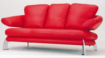European-style modern red  three seats sofa