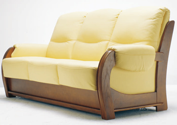 European-style three seats yellow sofa