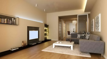 Modern small space warm living room