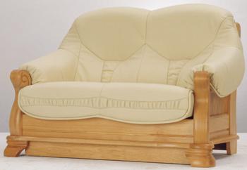 European-style leather double seats sofa