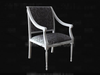 White wooden fabric chair
