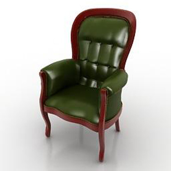 Retro green leather sofa 3D model