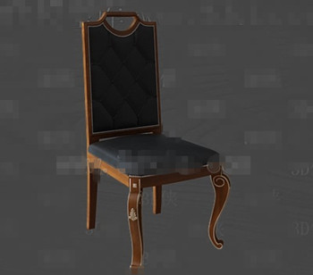 Black leather exquisite wooden chair