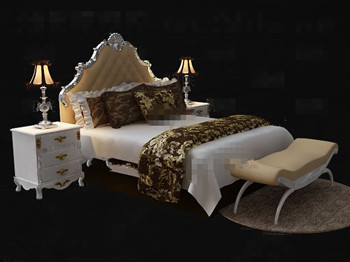 Exquisite and luxury white double bed