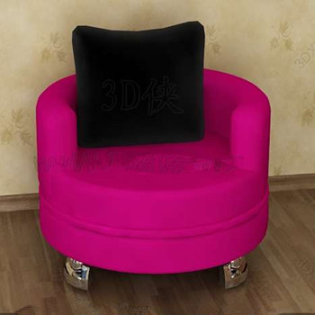 Comfortable rose red round sofa