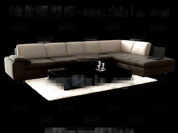 Comfortable brown fabric sofa combination