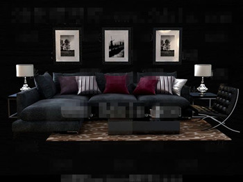 Modern and comfortable black sofa combination