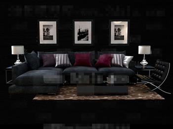 Modern and comfortable black sofa combination