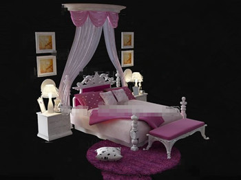 European style pink and white bed