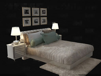 White simple and comfortable double bed