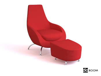 Red comfortable combination of chair