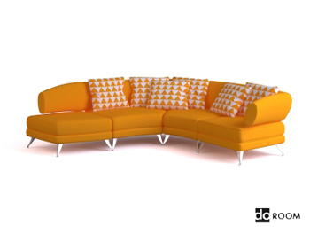 Yellow casual and comfortable sofa