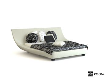 Unique shape white double bed