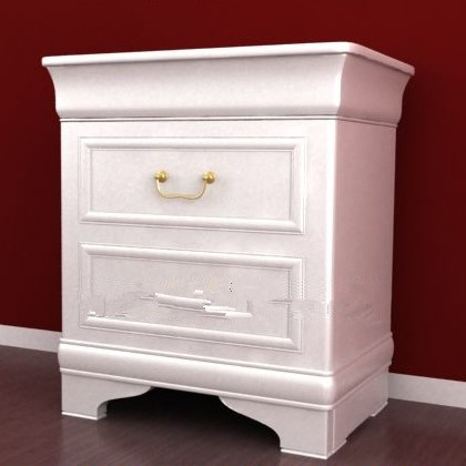 White simple European-style bedside cabinet