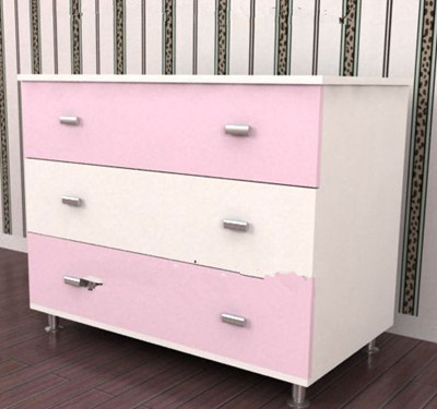 Pink white spliced bedside cabinet