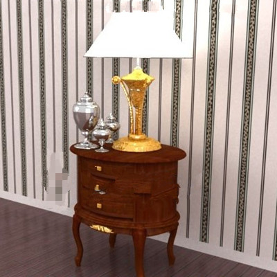 Wood brown round bedside cabinet